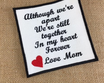 SEW ON Memory Patch  - Although We Are Apart, Together Forever, 4.5 Inch, In Memory, Shirt Pillow Patches, Memory Patches