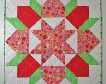"Spring Quilted Table Topper, Square Floral Table Mat, Coral Green White ""Swoon"" Table Topper, 24""x24"", Quiltsy Handmade"