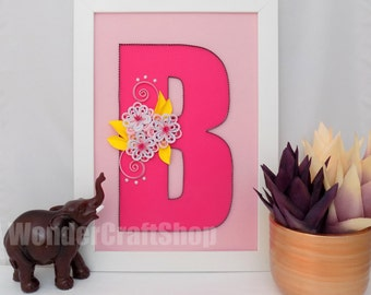 baby girl nursery wall art, nursery letter, nursery decor, nursery wall art, framed nursery letter, nursery b letter, baby girl letter