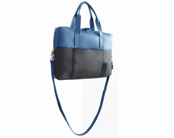 Briefcase in black and blue