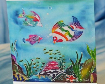 Blank Greeting Card with Original Batik Artwork Print Rainbow Fish