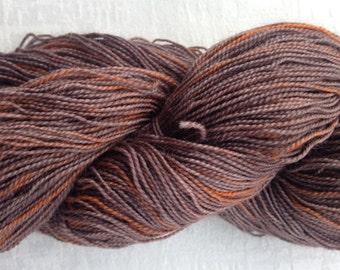 Brown No.3 Handdyed sockblend 2 ply 100rg skein