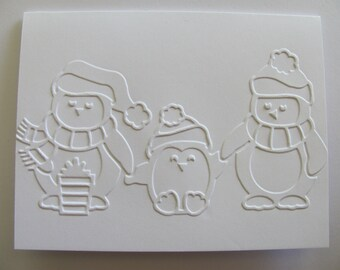 Penguin Christmas Cards ,Set of 6 or 8, Penguin Cards, Holiday Card Set, Christmas, Embossed Christmas Card Set,Christmas Card Set, Penguins