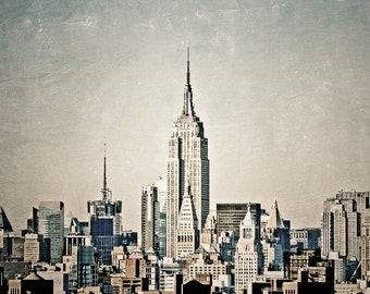 "New York Photography, NYC Skyline, Empire State Building, New York Wall Art, Vintage NY, Wall Decor, Urban Print, New York ""High in the Sky"""
