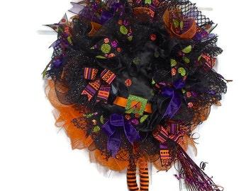 Halloween Witch Wreath, Witch Wreath, Witch Hat and legs Wreath,Halloween Wreath