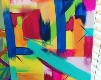 Colorful abstract original painting