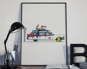 Ghostbusters 'Ectomobile Cadillac' Wheel Clamp Limited Edition Art Print