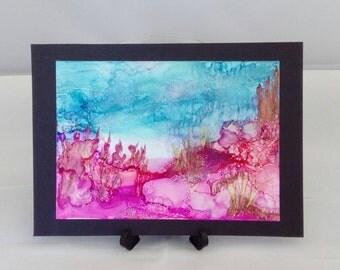 Alcohol ink art seascape, yupo, original