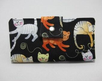 Cat Wallet, Ladies Bifold Clutch, Handmade Womens Wallet,  Clutch Wallet