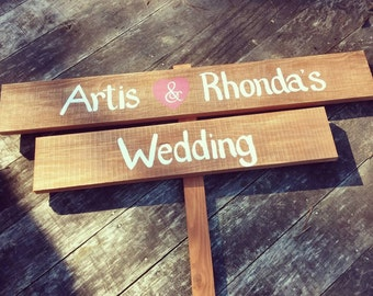Rustic wedding announcement sign with names