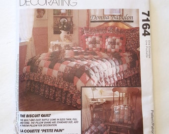 Biscuit Quilt Pattern / McCall's 7164 Home Decorating Pattern / Vintage Quilt Pattern / McCall's Home Decor Pattern