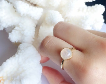 Rainbow Moonstone | Stacking Ring | Moonstone Ring |  Stack Rings