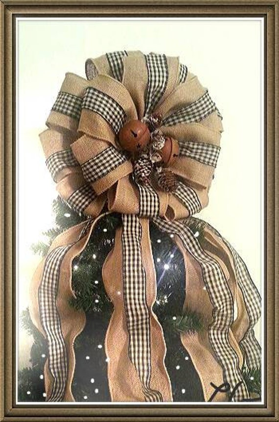 Burlap & Gingham Large Primitive Bow Topper