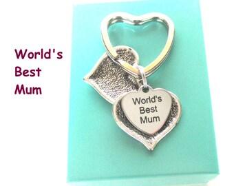 World's Best Mum keyring - Mum gift - Secret message keyring - Heart Keychain - Gift for mum - Custom message - Mum keyring - UK seller