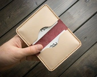 Leather Business Card Holder, Slim Design, Personalized Leather Business Card Case - NakedCherry
