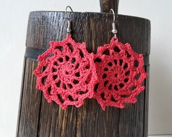 Red Circle Earrings, Lace Crochet Earrings, Lace Jewellery, Gift Ideas For Her