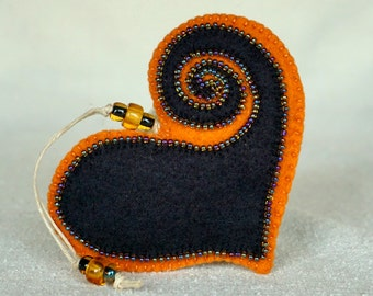 Beaded Black and Orange Wool Felt Heart Ornament #4, Mother's Day Heart, Wedding Favor, Proposal Idea, Anniversary Gift *Ready to ship