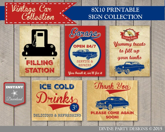 Classic Car Signs : Instant download vintage car birthday party sign package