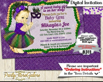 girls baby shower invitations mardi gras green purple tutu mask beads