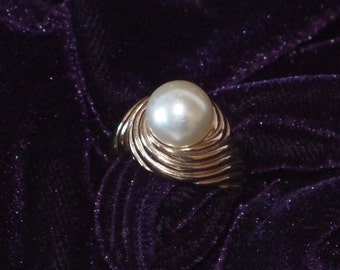 Amazing Large Pearl Ring Gold Vermiel over Sterling