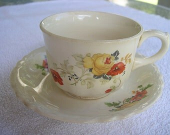 a vintage Homer Laughlin Cup and Saucer  E55 N6