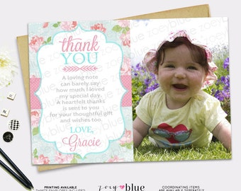Shabby Chic Thank You Card Pink Blue Girl Roses Birthday baby shower Baptism Thank you card Picture 1st First Birthday Girl - Digital File