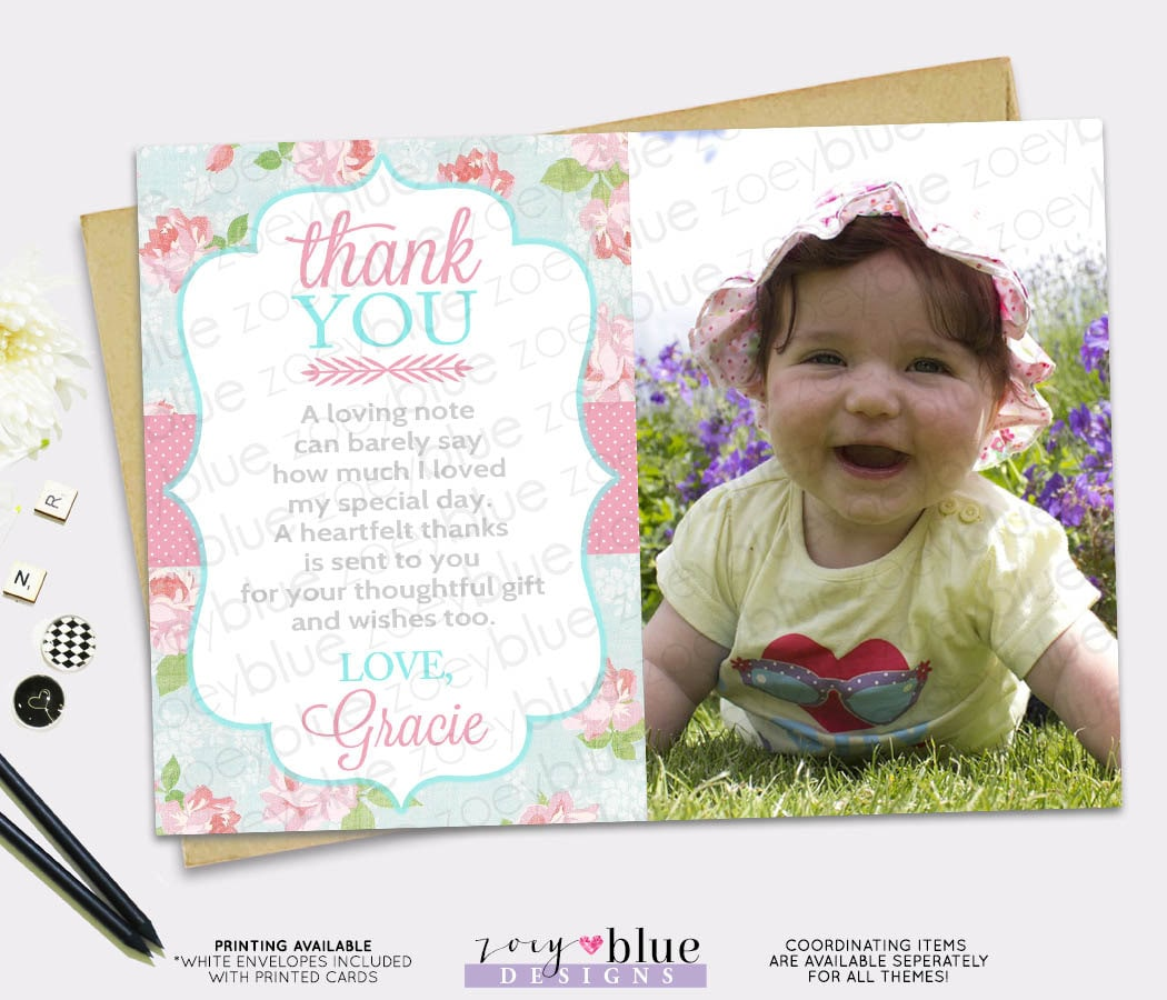 Shabby Chic Thank You Card Pink Blue Girl Roses Birthday baby – First Birthday Thank You Cards