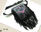 Bohemian fanny pack/ Fringe Fanny Pack/ Black Fringe Clutch/ Tribal Purse/ Boho Hip bag.