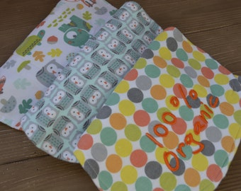 Set Of 3 Burp Cloths In Polka Dot, Owl and Animal Print... Burp Cloth Set In Neutral Colors With Cloth Diaper Backing
