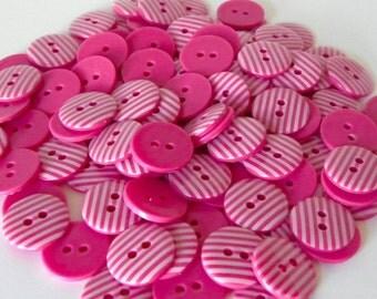 10 x 15mm Cerise Pink Stripe Buttons