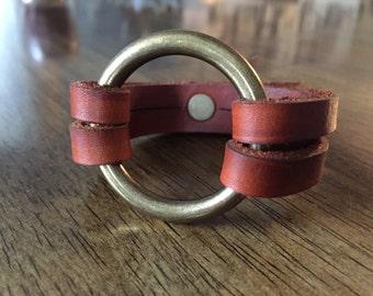 O ring leather bracelet with antiqued brass hardwear