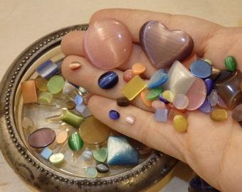 Glass Cat Eye Cabochon Bulk Lot Rainbow Mix Mixed Colors, Shapes, Sizes. Scrap booking, nail art, tiles, mosaics.