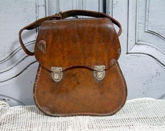 Vintage french genuine leather case for petanque balls. Bike bag. Motorcycle leather bag. Biker leather bag