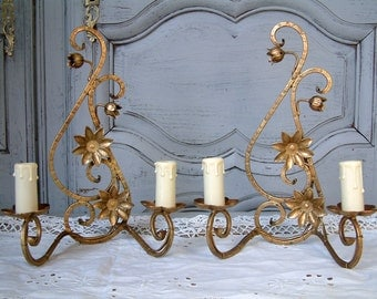 Set of 2 French vintage cast iron wall sconces. Gold wall sconces. Rococo. Baroque. French chateau. Paris apartment. French cottage decor