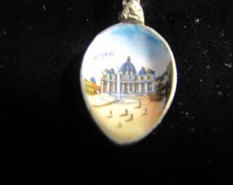 Roma Enameled Souvenir Spoon Demi Size