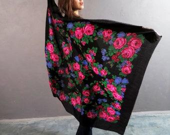 Vintage Black Floral Scarf