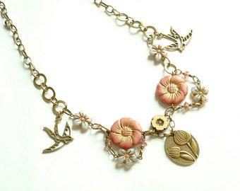 Bronze Bird Necklace, Swallow Necklace, Vintage Necklace, Flower Necklace, Bird Necklace, Art Deco, Layered Necklace, Best Friend Gift