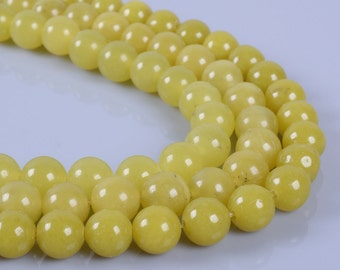 "8MM119 Olive jade round ball loose gemstone beads 16"""
