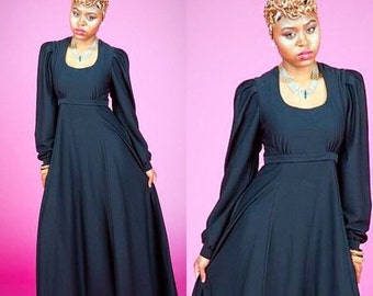 SALE Vintage Black Longsleeve Empire Waist Gown