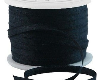 11 Yds (10 M) Embroidery Silk Ribbon 100% Silk 2mm - Black - By Threadart