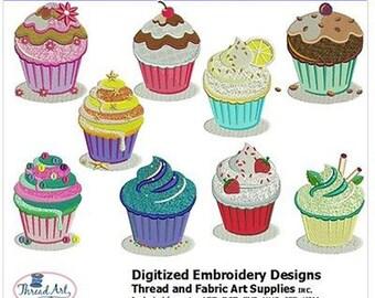 Embroidery Design Cd - Cupcakes (2) - 10 Designs - 8 Popular Formats - Threadart
