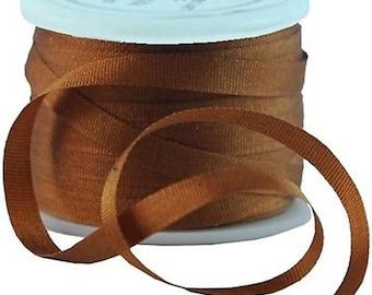11 Yds (10 M) Embroidery Silk Ribbon 100% Silk 4mm - Brown - By Threadart