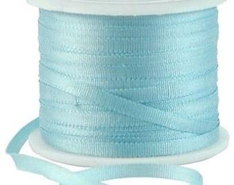 11 Yds (10 M) Embroidery Silk Ribbon 100% Silk 2mm - Lt Teal - By Threadart