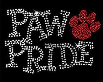 Rhinestone Transfer - Hot Fix Motif - Paw Pride Red