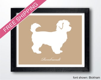 Personalized Maltipoo Silhouette Print with Custom Name - Maltipoo art, dog portrait, modern dog home decor