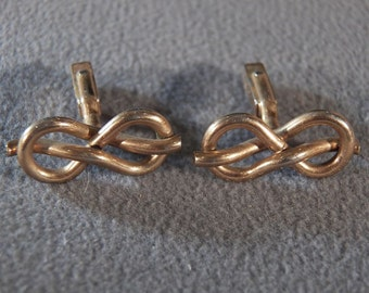 Vintage Yellow Gold Tone Love Knot Cuff Links Jewelry Art Deco Style **RL
