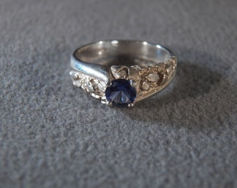 Vintage Sterling Silver Round Iolite Fancy Scrolled Ring Jewelry 10  **RL