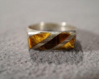 Vintage Sterling Silver 3 Rectangle Inset Tiger Eye Domed curved Wedding Band Ring, Size 6    **RL