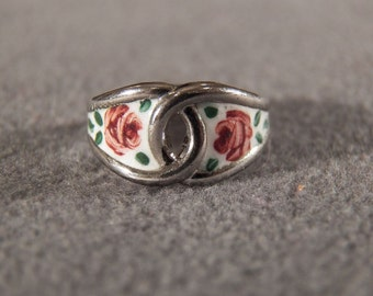Vintage Sterling Silver Fancy Floral Multi Colored Guilloche Enameled Band Ring 5.5    **RL