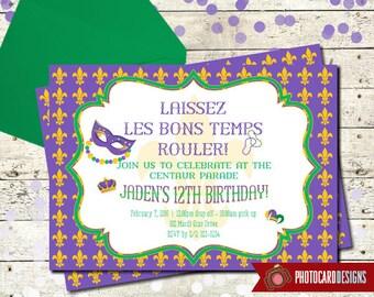 Mardi Gras Invitation, Mardi Gras Parade Birthday Invitation, Mardi Gras, Card, Parade, Digital, Print file, Party, Birthday Invitation